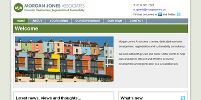 screen shot of morgan jones associates website